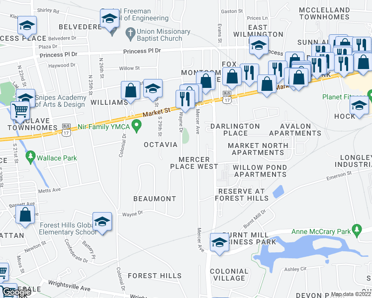 map of restaurants, bars, coffee shops, grocery stores, and more near 103 Wayne Drive in Wilmington
