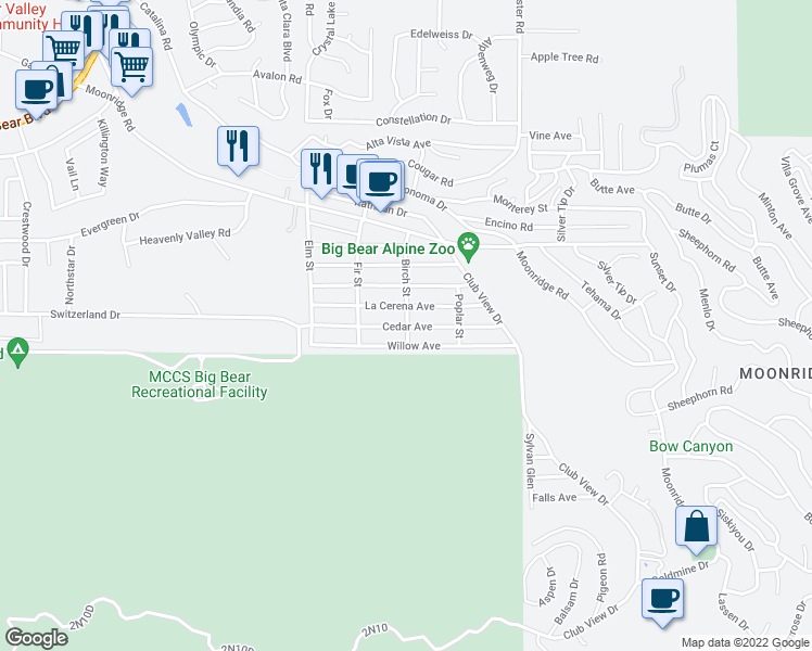 map of restaurants, bars, coffee shops, grocery stores, and more near 848 Birch Street in Big Bear Lake
