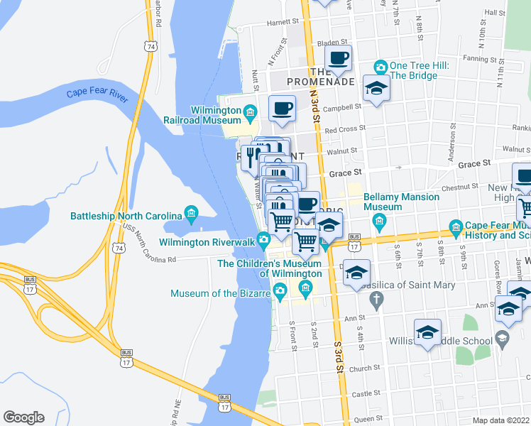 map of restaurants, bars, coffee shops, grocery stores, and more near 106 North Water Street in Wilmington