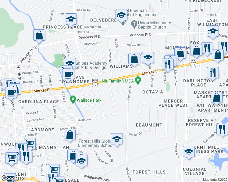 map of restaurants, bars, coffee shops, grocery stores, and more near 23 Forest Hills Drive in Wilmington