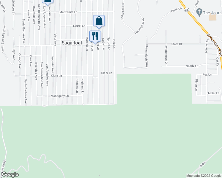 map of restaurants, bars, coffee shops, grocery stores, and more near 797 Spruce Lane in Big Bear