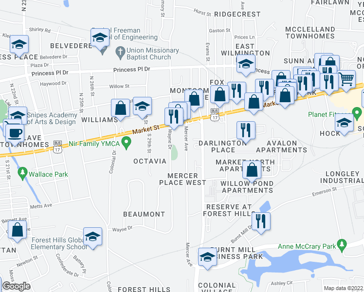 map of restaurants, bars, coffee shops, grocery stores, and more near 24 Mercer Avenue in Wilmington