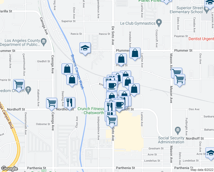 map of restaurants, bars, coffee shops, grocery stores, and more near 20961 Knapp Street in Los Angeles
