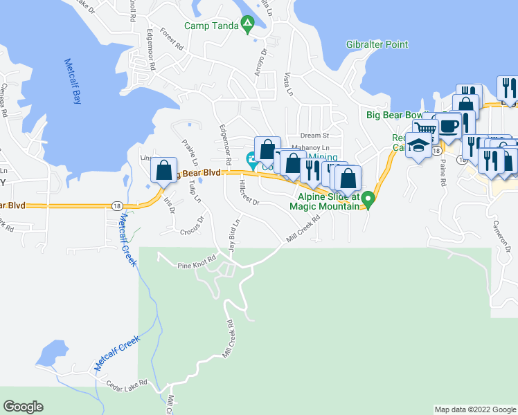 map of restaurants, bars, coffee shops, grocery stores, and more near 40043 Hillcrest Drive in Big Bear Lake