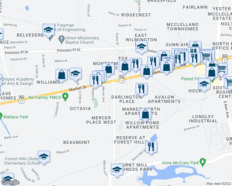 map of restaurants, bars, coffee shops, grocery stores, and more near 33 Covil Avenue in Wilmington