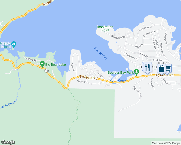map of restaurants, bars, coffee shops, grocery stores, and more near 791 Rayo Lane in Big Bear Lake