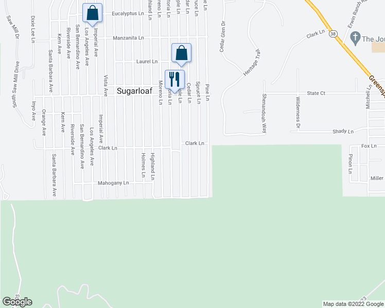 map of restaurants, bars, coffee shops, grocery stores, and more near 733 Cedar Lane in Big Bear