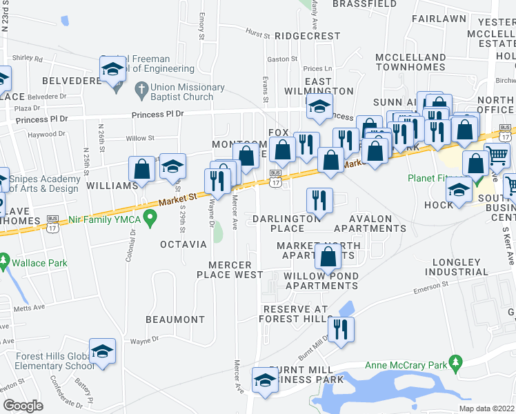 map of restaurants, bars, coffee shops, grocery stores, and more near 29 Covil Avenue in Wilmington