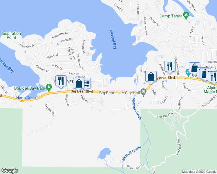 map of restaurants, bars, coffee shops, grocery stores, and more near 781 Cienega Road in Big Bear Lake