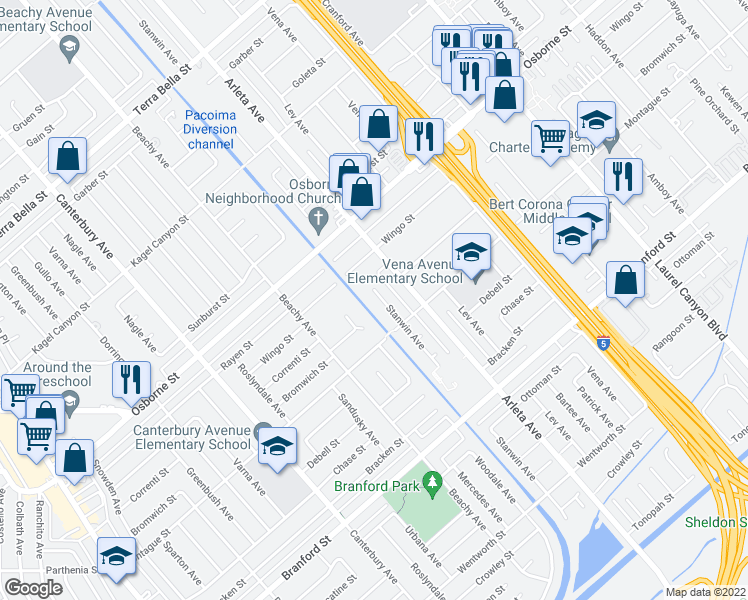 map of restaurants, bars, coffee shops, grocery stores, and more near 9345 Stanwin Avenue in Los Angeles