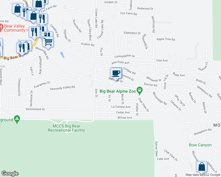 map of restaurants, bars, coffee shops, grocery stores, and more near 689 Fir Street in Big Bear Lake