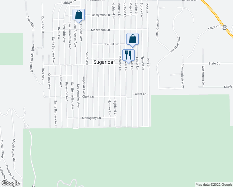 map of restaurants, bars, coffee shops, grocery stores, and more near 689 Highland Lane in Sugarloaf