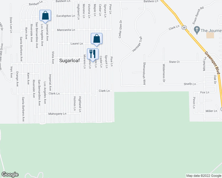 map of restaurants, bars, coffee shops, grocery stores, and more near 676 Pine Lane in Big Bear