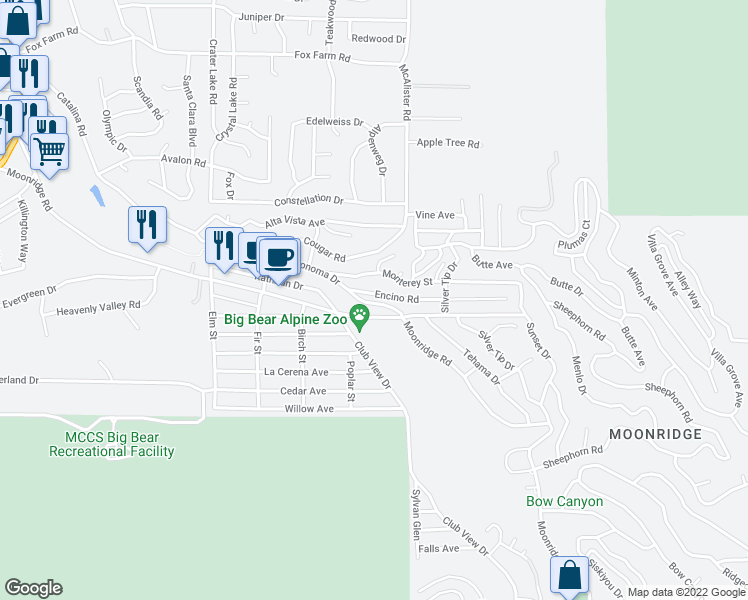 map of restaurants, bars, coffee shops, grocery stores, and more near 42834 Sonoma Drive in Big Bear Lake