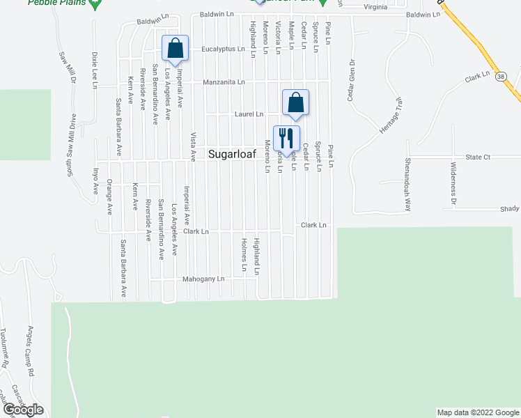 map of restaurants, bars, coffee shops, grocery stores, and more near 645 Highland Lane in Sugarloaf