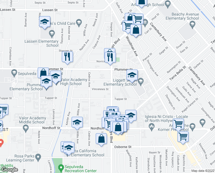 map of restaurants, bars, coffee shops, grocery stores, and more near 14611 Vincennes Street in Los Angeles