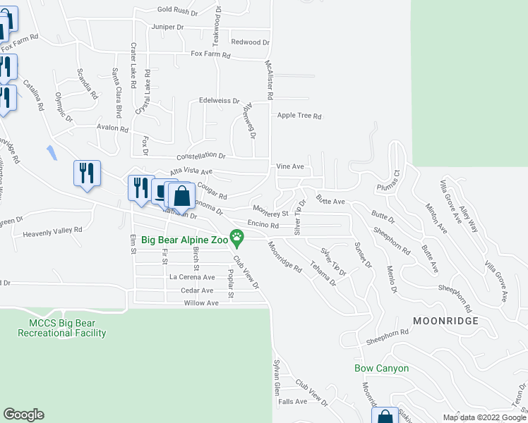 map of restaurants, bars, coffee shops, grocery stores, and more near 42889 Monterey St in Big Bear City