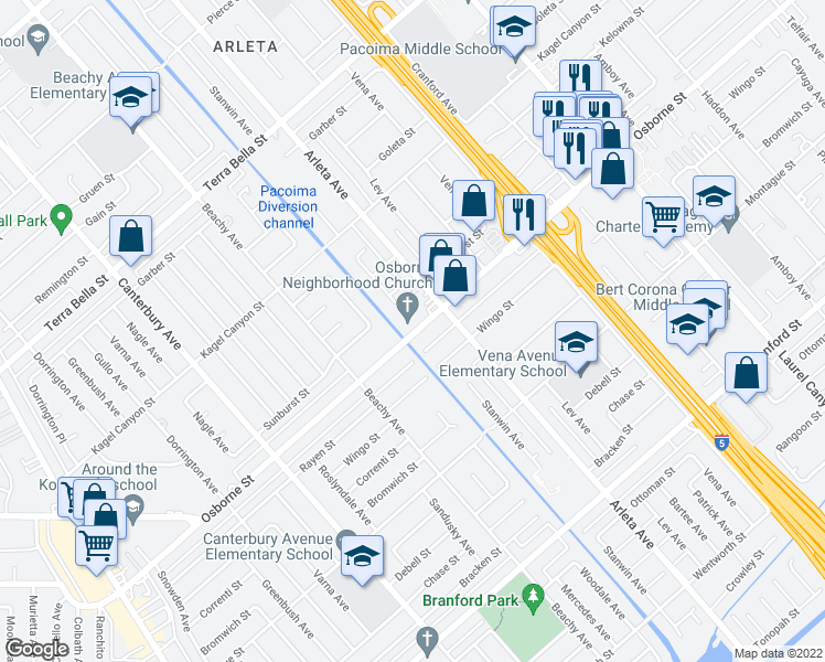 map of restaurants, bars, coffee shops, grocery stores, and more near 9485 Stanwin Avenue in Los Angeles