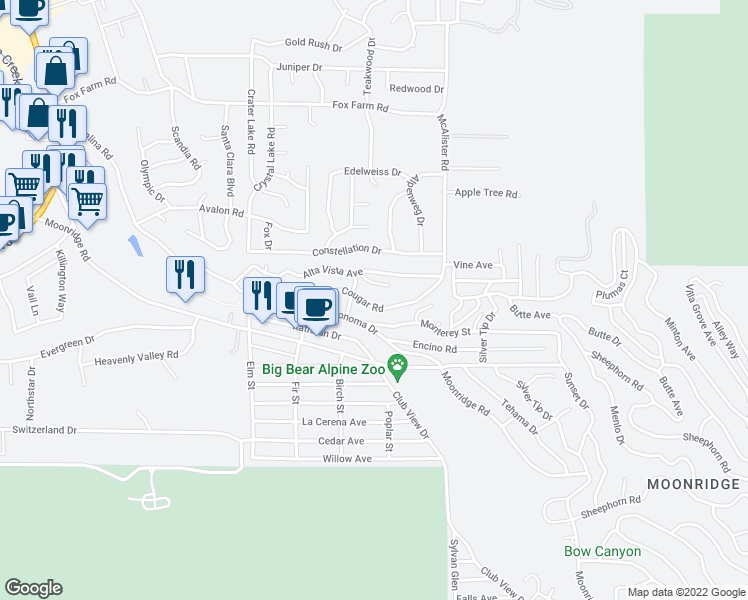 map of restaurants, bars, coffee shops, grocery stores, and more near 42762 Cougar Road in Big Bear Lake