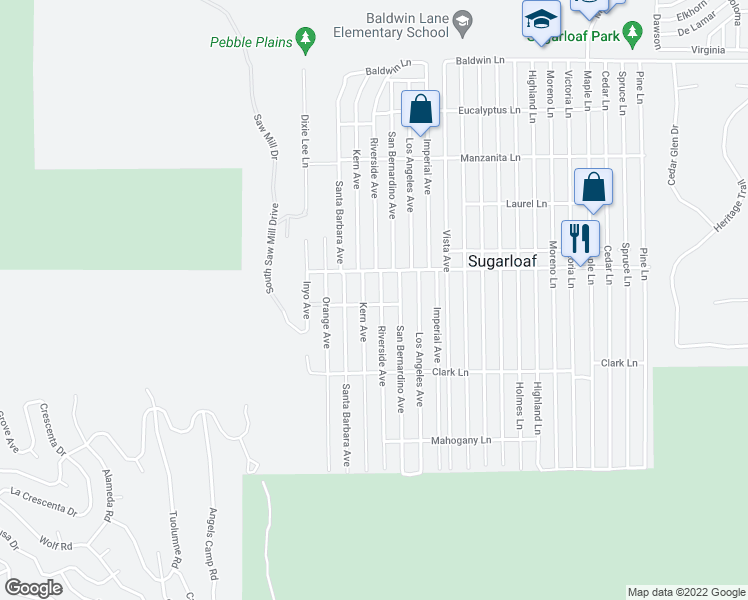 map of restaurants, bars, coffee shops, grocery stores, and more near 564 Riverside Avenue in Big Bear