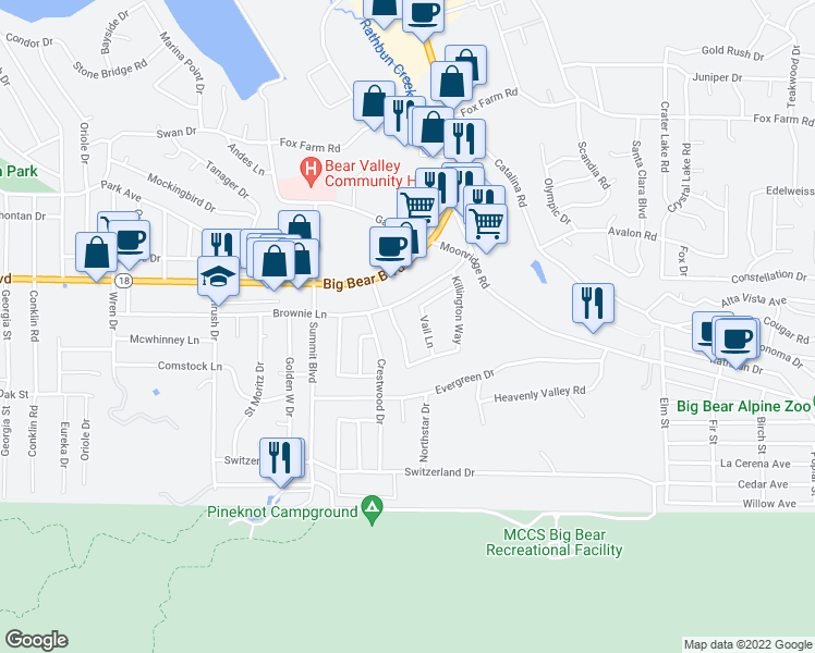 map of restaurants, bars, coffee shops, grocery stores, and more near 575 Breckenridge Road in Big Bear Lake