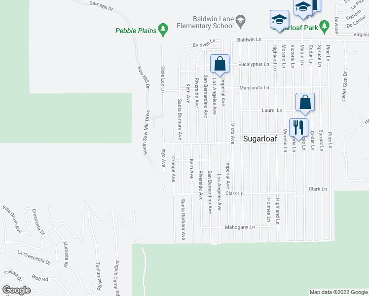 map of restaurants, bars, coffee shops, grocery stores, and more near 525 Santa Barbara Avenue in Big Bear