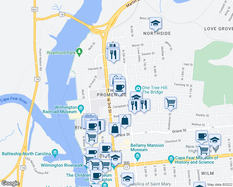 map of restaurants, bars, coffee shops, grocery stores, and more near 709 North 4th Street in Wilmington