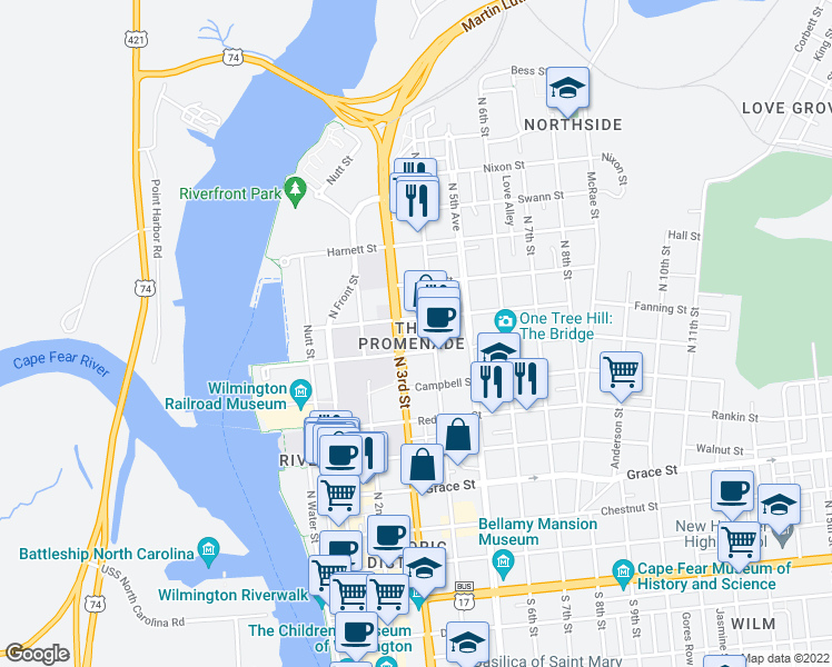 map of restaurants, bars, coffee shops, grocery stores, and more near 715 North 4th Street in Wilmington