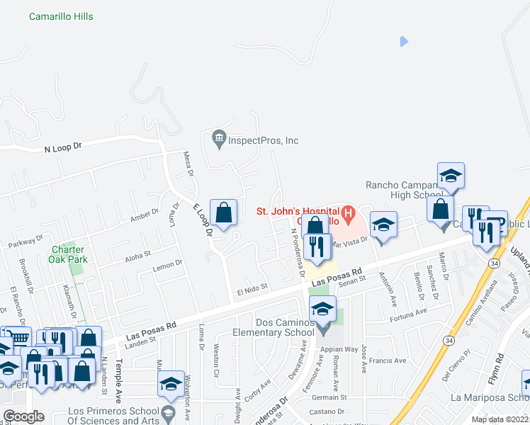 map of restaurants, bars, coffee shops, grocery stores, and more near 2623 Antonio Drive in Camarillo