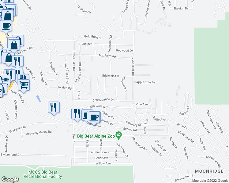 map of restaurants, bars, coffee shops, grocery stores, and more near 909 Waldstrasse Way in Big Bear Lake