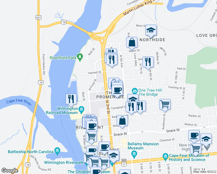 map of restaurants, bars, coffee shops, grocery stores, and more near 814 North 3rd Street in Wilmington