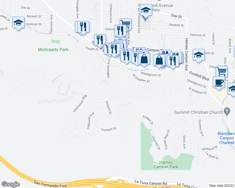 map of restaurants, bars, coffee shops, grocery stores, and more near 7206 Viva Drive in Los Angeles