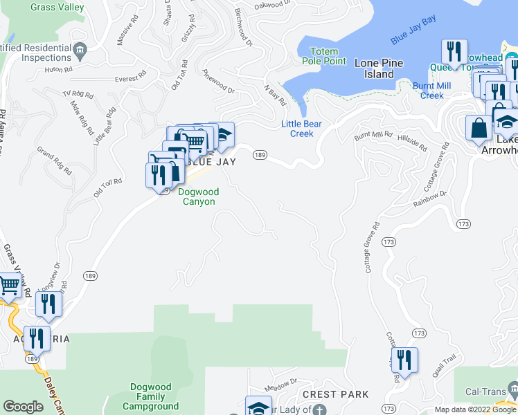 map of restaurants, bars, coffee shops, grocery stores, and more near 455 Blue Jay Canyon Road in Lake Arrowhead