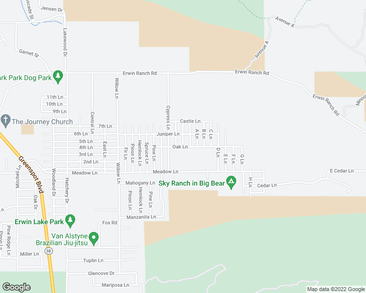 map of restaurants, bars, coffee shops, grocery stores, and more near 2471 Oak Lane in Big Bear