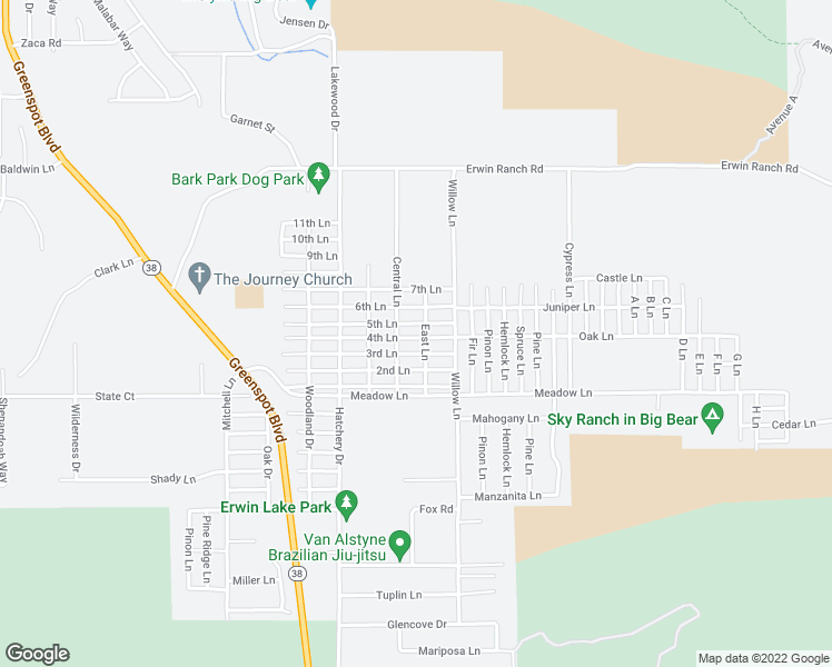 map of restaurants, bars, coffee shops, grocery stores, and more near 2161 4th Lane in Big Bear