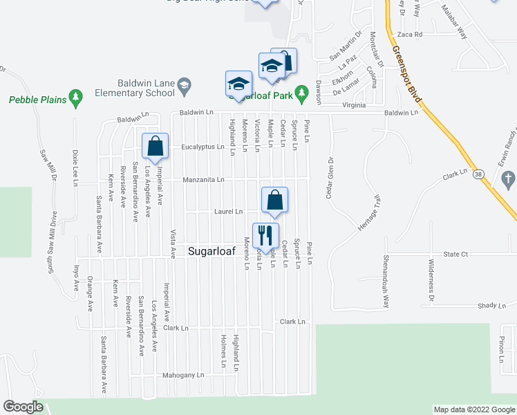 map of restaurants, bars, coffee shops, grocery stores, and more near 370 Victoria Lane in Sugarloaf