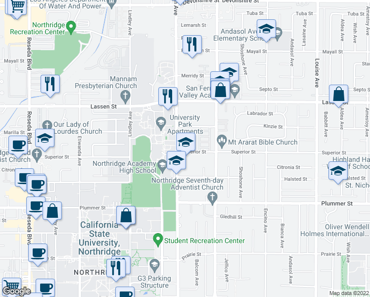 map of restaurants, bars, coffee shops, grocery stores, and more near 9700 Zelzah Avenue in Los Angeles