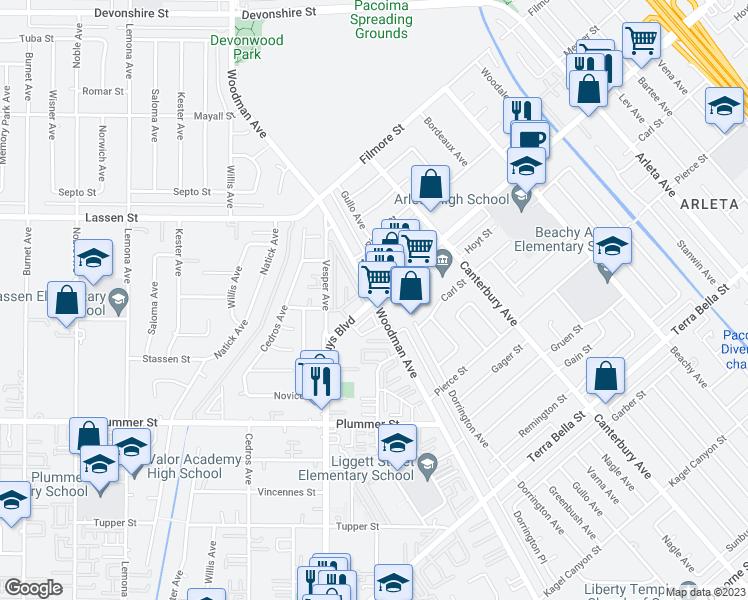 Arletacalifornia Map.Van Nuys Blvd Woodman Ave Los Angeles Ca Walk Score