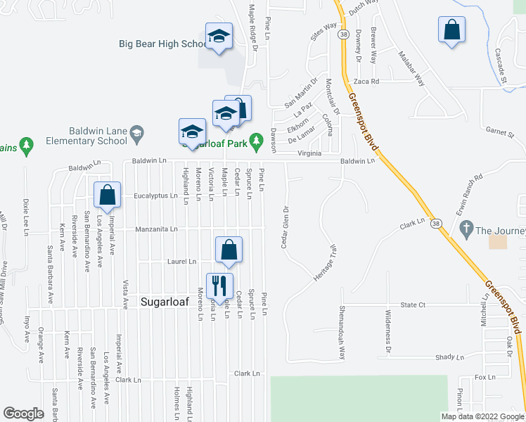 map of restaurants, bars, coffee shops, grocery stores, and more near 250 Pine Lane in Big Bear