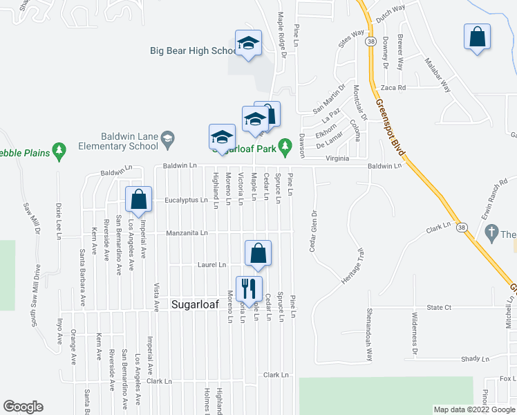 map of restaurants, bars, coffee shops, grocery stores, and more near 221 Maple Lane in Big Bear