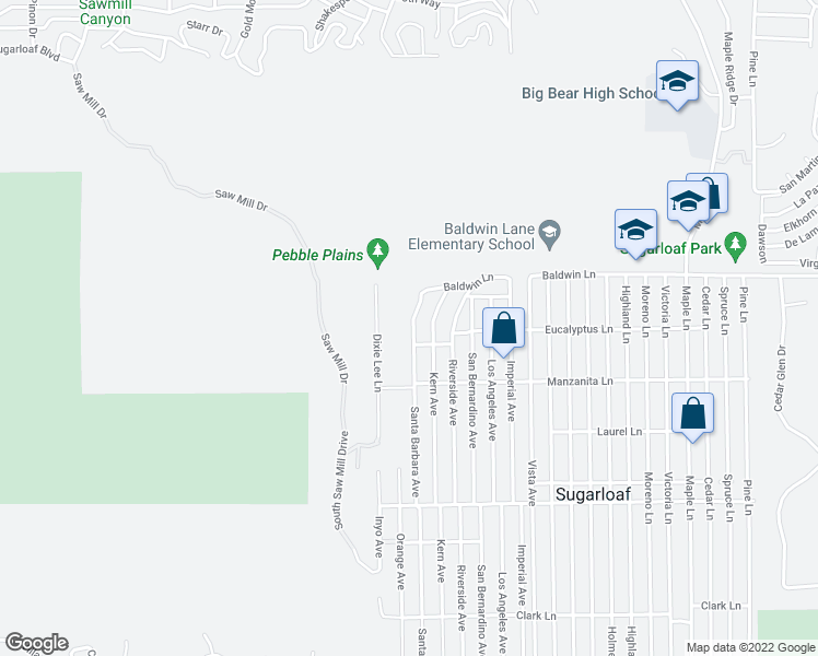 map of restaurants, bars, coffee shops, grocery stores, and more near 194 Santa Barbara Avenue in Big Bear