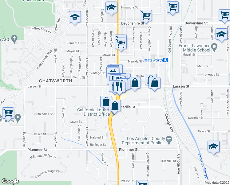map of restaurants, bars, coffee shops, grocery stores, and more near 9825 Topanga Canyon Boulevard in Los Angeles
