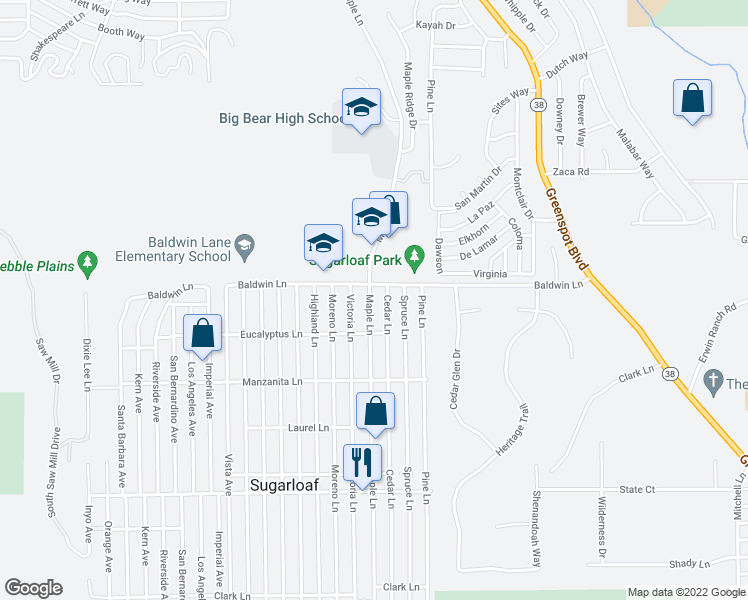 map of restaurants, bars, coffee shops, grocery stores, and more near 129 Maple Lane in Big Bear