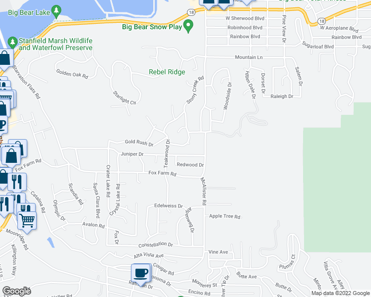 map of restaurants, bars, coffee shops, grocery stores, and more near 119 Stony Creek Road in Big Bear Lake