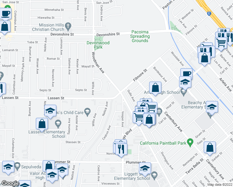 map of restaurants, bars, coffee shops, grocery stores, and more near 9933 Woodman Avenue in Mission Hills