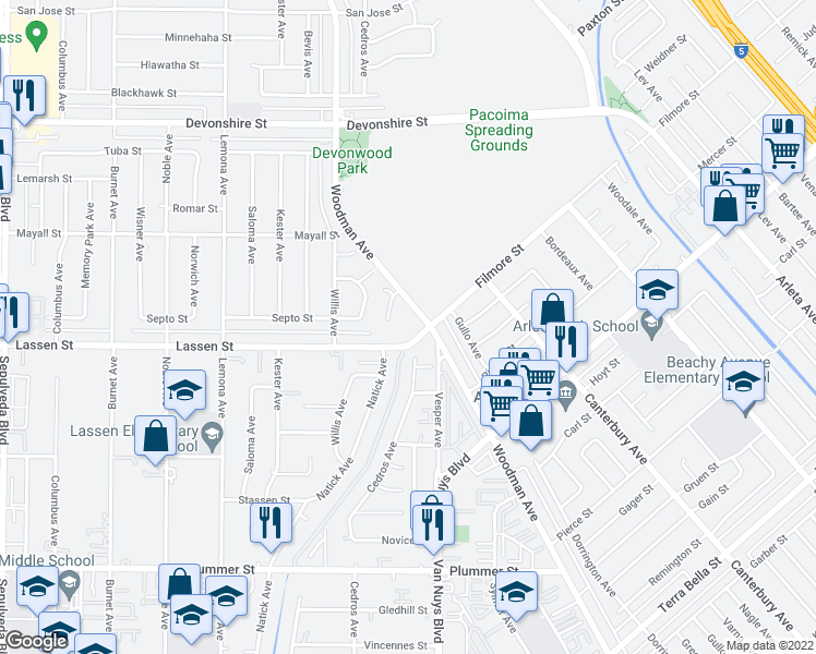 map of restaurants, bars, coffee shops, grocery stores, and more near 9933 Woodman Avenue in Los Angeles