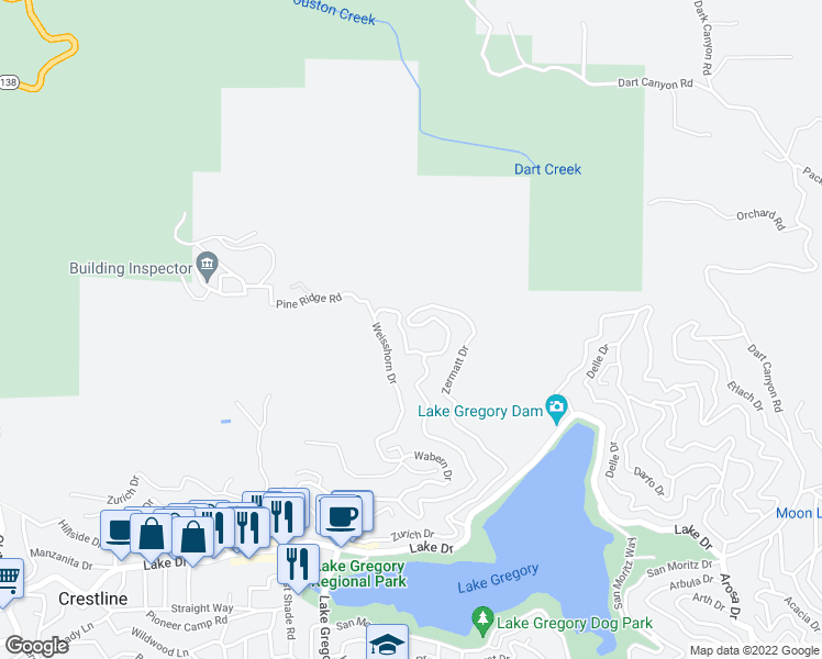 map of restaurants, bars, coffee shops, grocery stores, and more near 126 Weisshorn Drive in Crestline