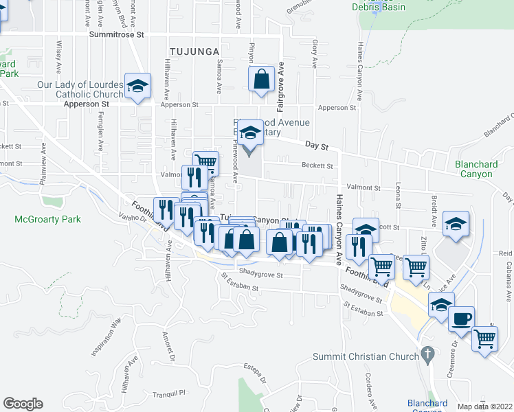 map of restaurants, bars, coffee shops, grocery stores, and more near 10021 Silverton Ave in Los Angeles