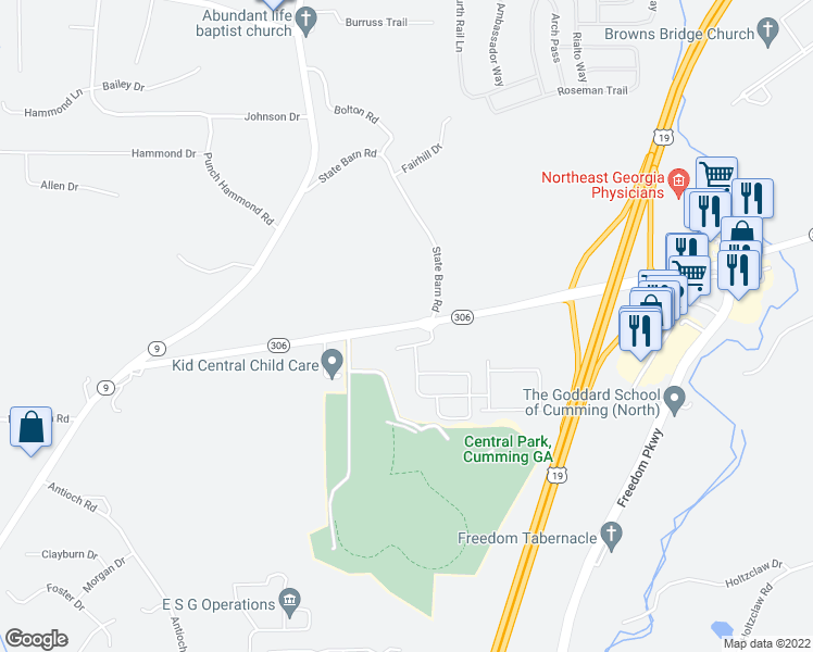 map of restaurants, bars, coffee shops, grocery stores, and more near 2341-2399 Keith Bridge Road in Cumming
