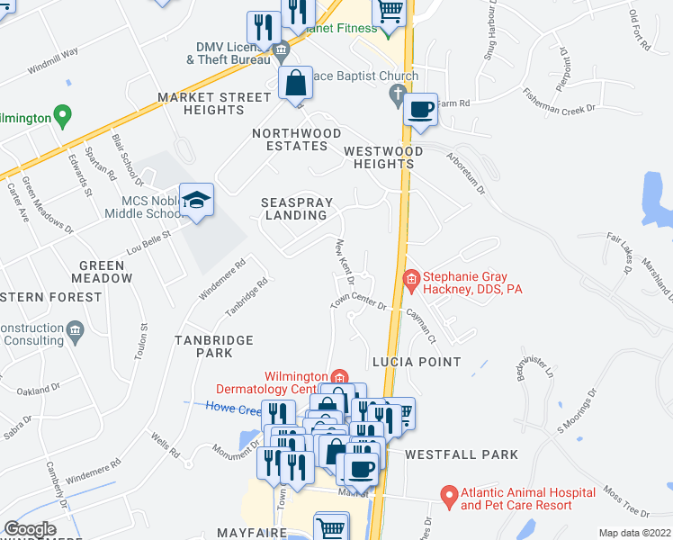 map of restaurants, bars, coffee shops, grocery stores, and more near 557 Garden Terrace Drive in Wilmington